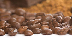 Coffee beans and instant coffee Royalty Free Stock Image