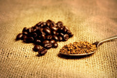 Coffee beans and instant coffee Royalty Free Stock Photo