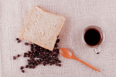 Coffee beans and instant coffee in cup. Royalty Free Stock Images