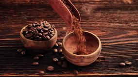 Coffee beans and instant coffee. stock video