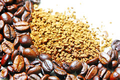 Coffee beans and instant coffee Royalty Free Stock Photography