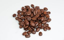 Coffee beans isolated on a white background. Royalty Free Stock Image