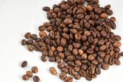 Coffee beans isolated on white background. Area for copy space Royalty Free Stock Image