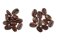 Coffee beans isolated on white background close up Royalty Free Stock Photos