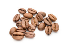 Coffee beans isolated on white background, closeup, macro. Stock Photography