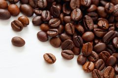 Coffee  beans isolated on white background with copyspace for text. Coffee background or texture concept stock image