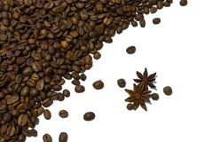 Coffee beans isolated on white background, copy space. Coffee beans isolated on white background.A textured background.Copy paste placenn Royalty Free Stock Photography