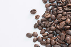 Coffee beans isolated on white background. Copy space for write text Royalty Free Stock Image