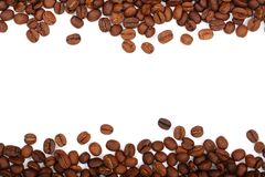 Coffee beans isolated on white background with copy space for your text. top view.  Stock Photography