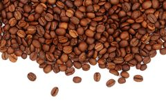 Coffee beans isolated on white background with copy space for your text. top view.  Stock Image