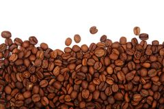 Coffee beans isolated on white background with copy space for your text. top view.  Royalty Free Stock Images