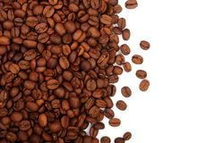 Coffee beans isolated on white background with copy space for your text. top view.  Royalty Free Stock Photo