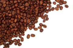 Coffee beans isolated on white background with copy space for your text. top view.  Royalty Free Stock Photography