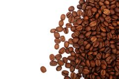 Coffee beans isolated on white background with copy space for your text. top view.  Stock Images