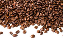 Coffee  beans isolated on white background with copyspace for te Stock Image