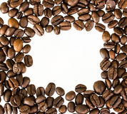 Coffee beans isolated on white background with copyspace Royalty Free Stock Photography