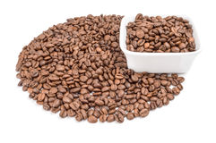 Coffee beans isolated on a white background cutout. Coffee on a white background. Clipping path Royalty Free Stock Photos
