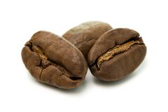 Coffee beans isolated on a white background. Roasted coffee beans isolated on a white background Stock Photo