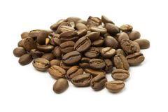 Coffee beans isolated on a white background. Roasted coffee beans isolated on a white background Stock Image