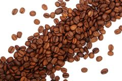 Coffee beans isolated on white background top view.  Stock Images