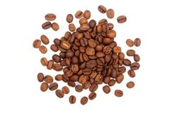 Coffee beans isolated on white background top view.  Stock Image