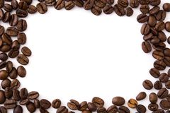 Coffee beans isolated on white background. Top view. Copyspace Stock Photography