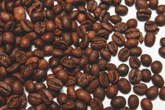 Coffee beans isolated on white background. Top view. Have a space for your text Royalty Free Stock Photo
