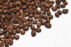Coffee beans isolated on white background. Top view. Have a space for your text Stock Image