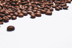 Coffee beans isolated on white background. Top view. Have a space for your text Stock Photo