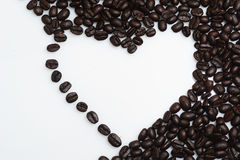 Coffee beans. Isolated white coffee bean with a variety of shapes and compositions Royalty Free Stock Photo