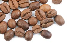 The coffee beans isolated on white stock photo