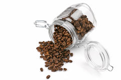 Coffee beans in jar Stock Images