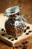 Coffee beans in jar Stock Photo