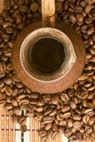 Coffee beans and jezve. View from above. Royalty Free Stock Photos