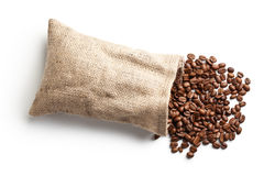 Coffee beans in jute bag. On white background Stock Image