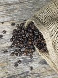 Coffee beans and jute bag Stock Photo