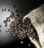 Coffee beans and jute bag Stock Image