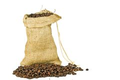 Coffee beans in a jute bag Stock Photos