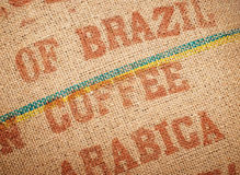 Coffee Beans Jute Sack. Jute or burlap bag of Arabica coffee beans from Brazil royalty free stock photo