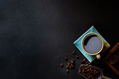 Coffee and beans on kitchen table. Top view with copy space of Coffee and beans on kitchen table Stock Photo