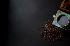 Coffee and beans on kitchen table. Top view with copyspace of Coffee and beans on kitchen table Stock Images