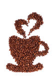 Coffee beans laid in the shape of a cup. Pairs made from beans in the shape of heart. isolated on a white background. vertical Royalty Free Stock Photography
