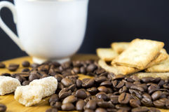 Coffee beans and lambs of sugar. Coffee beans, biscuits, lambs of sugar and white cup on a wooden desk stock photo
