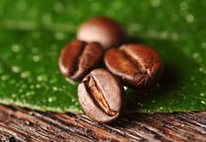 Coffee beans and leaf. On the wooden background Royalty Free Stock Photography