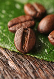 Coffee beans and leaf. On the wooden background Royalty Free Stock Photo