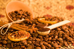 Coffee beans, lemon and cinnamon Stock Photo
