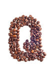 Coffee beans. Letter made of coffee beans stock photos