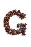 Coffee beans. Letter made of coffee beans royalty free stock photos