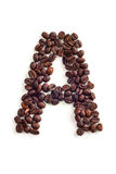 Coffee beans. Letter made of coffee beans royalty free stock images