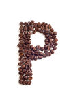Coffee beans. Letter made of coffee beans royalty free stock photography